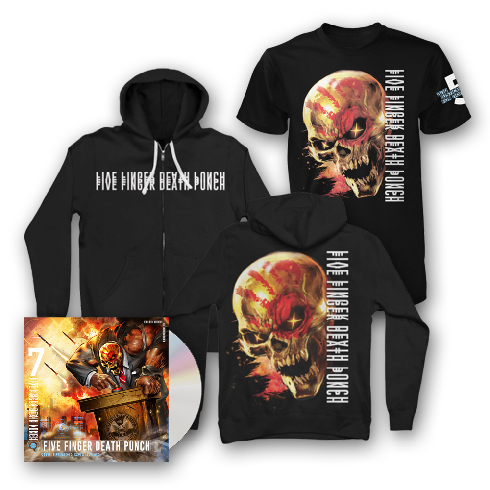 Buy Online Five Finger Death Punch - And Justice For None Standard CD + T-Shirt + Hoodie
