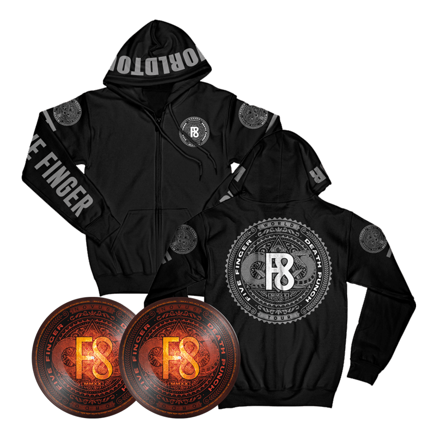 Buy Online Five Finger Death Punch - F8 Double Picture Disc Vinyl + Hoodie