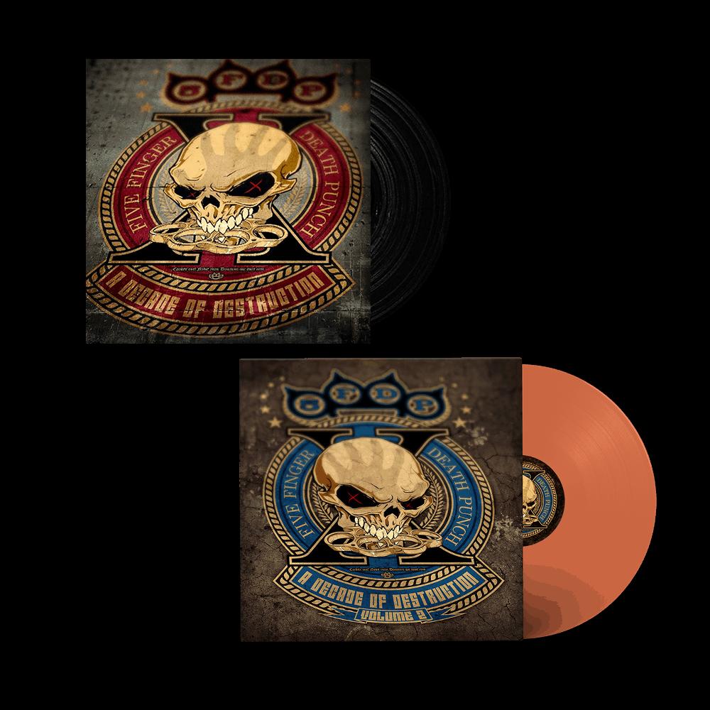Buy Online Five Finger Death Punch - A Decade Of Destruction Vol I & II Vinyls + Exclusive 12 x 12 Band Photo Print