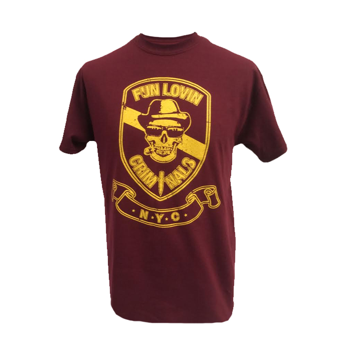 Buy Online Fun Lovin Criminals - Burgundy Skull T-Shirt