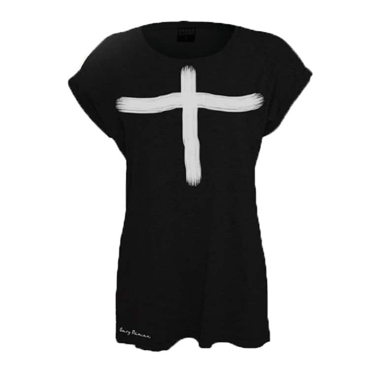 Buy Online Gary Numan - Ladies Fit White Cross T-Shirt