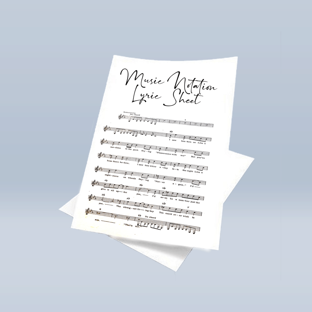 Music Notation & Lyric Proof Sheets (Warriors Album - Style 1)
