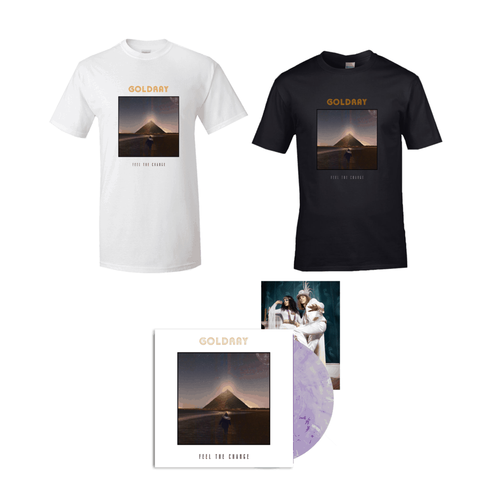 Buy Online Goldray - Feel The Change - Purple/White Marble Gatefold Vinyl + T-Shirt Bundle