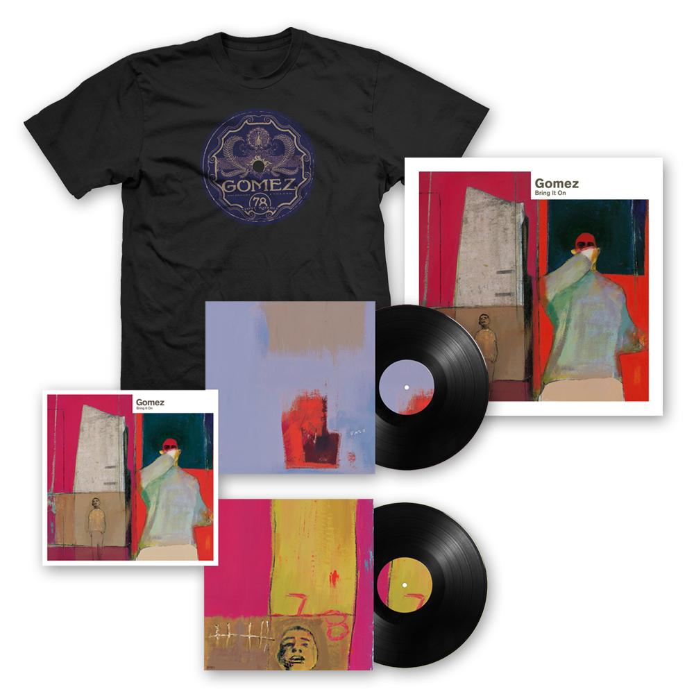Buy Online Gomez - Bring It On: 20th Anniversary 2LP Black Vinyl + Ltd Edition Print (Signed) + T-Shirt