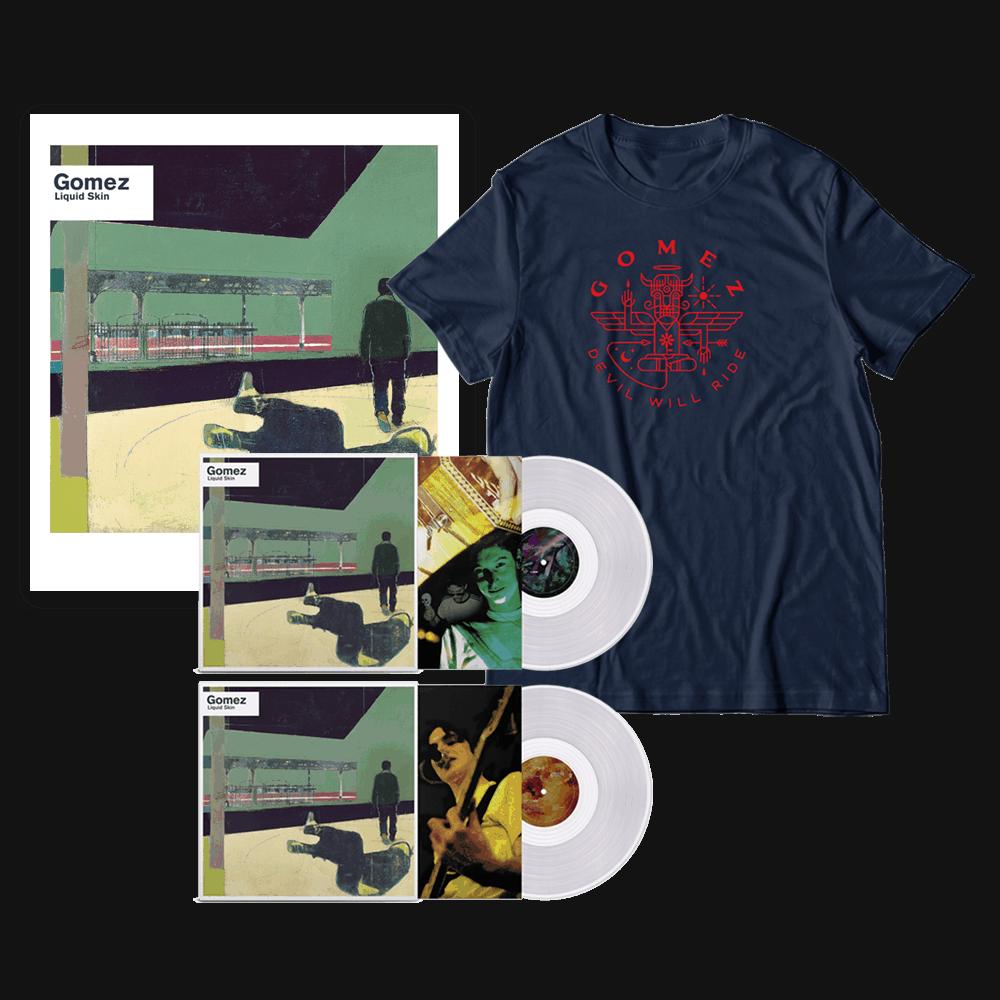 Buy Online Gomez - Liquid Skin 20th Anniversary Edition 2xLP Transparent Vinyl + T-Shirt + Limited Edition Print Bundle