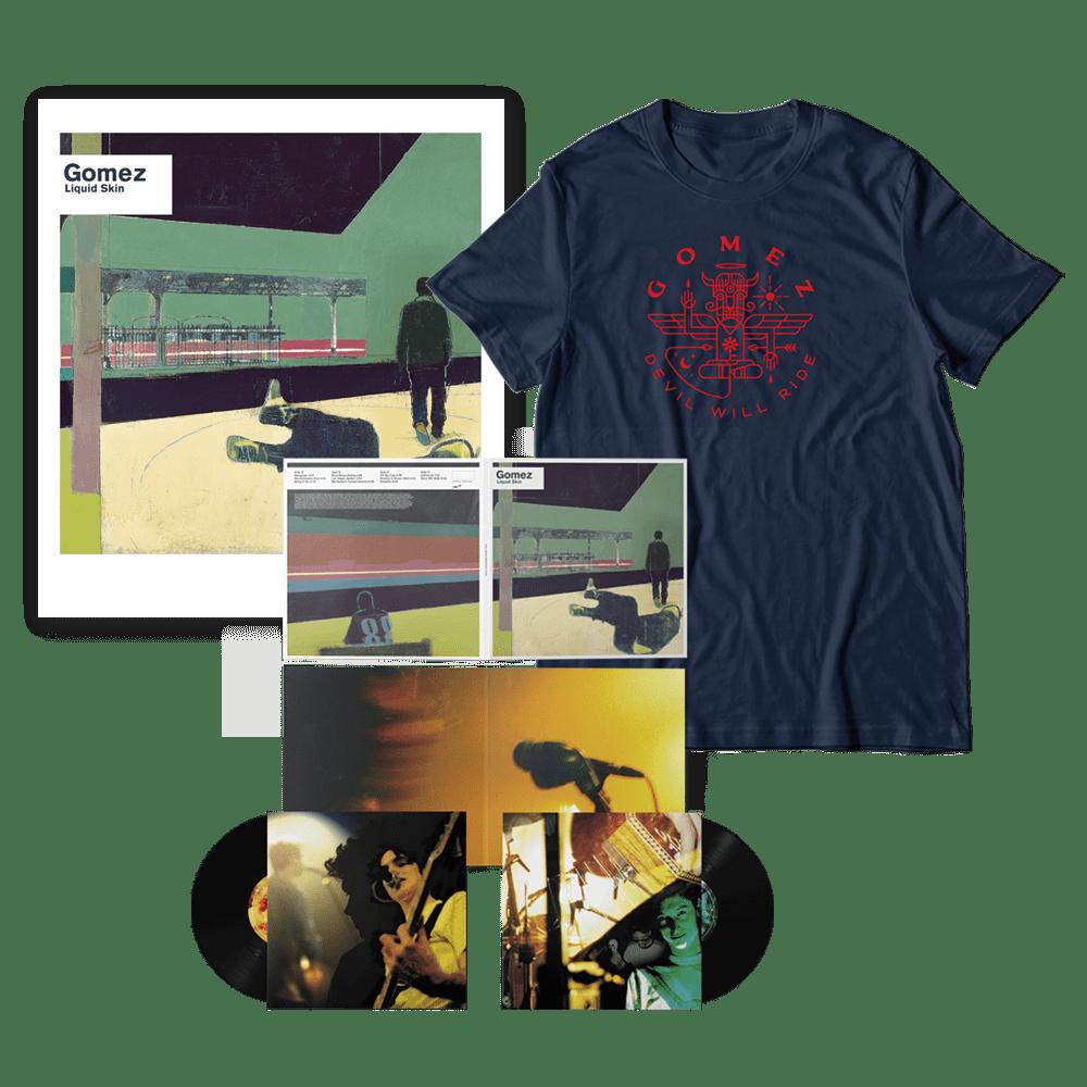 Buy Online Gomez - Liquid Skin 20th Anniversary 2xLP + T-Shirt + Limited Edition Print Bundle