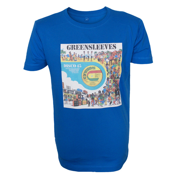 Buy Online Greensleeves Records - Mens 12-Inch Cartoon T-Shirt (Blue)