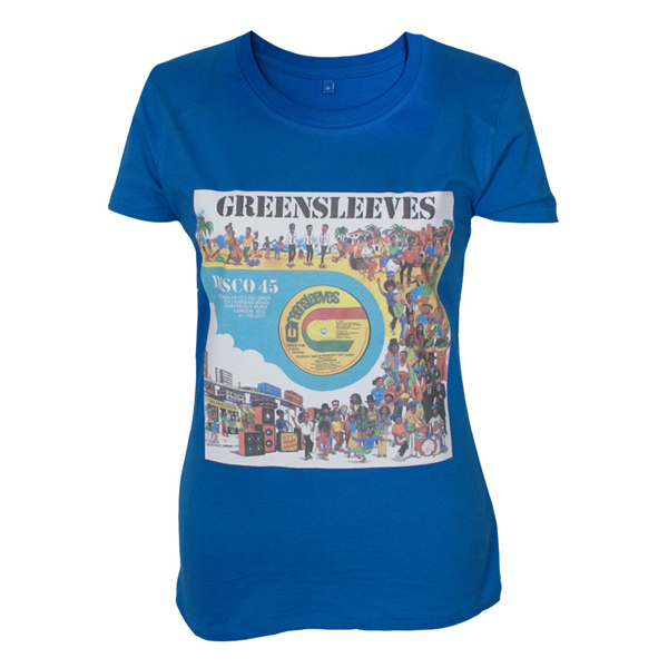 Buy Online Greensleeves Records - Womens 12-Inch Cartoon T-Shirt (Blue)