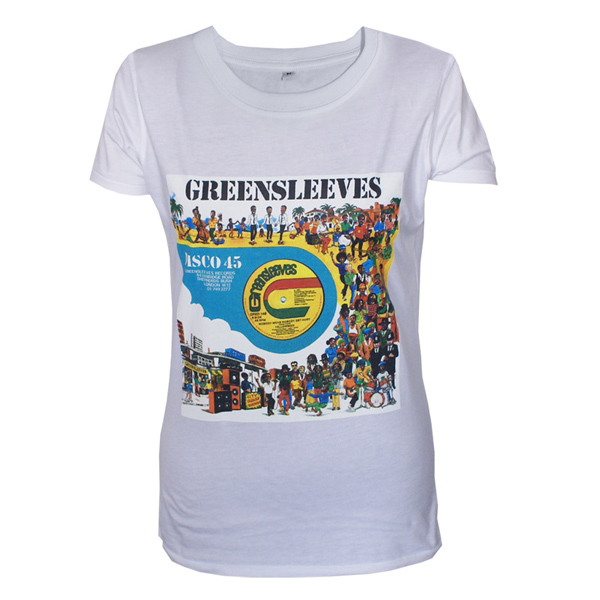 Buy Online Greensleeves Records - Womens 12-Inch Cartoon T-Shirt (White)