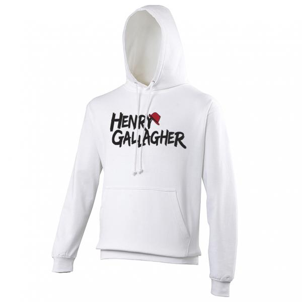Buy Online Henry Gallagher - White Text Logo Hoody
