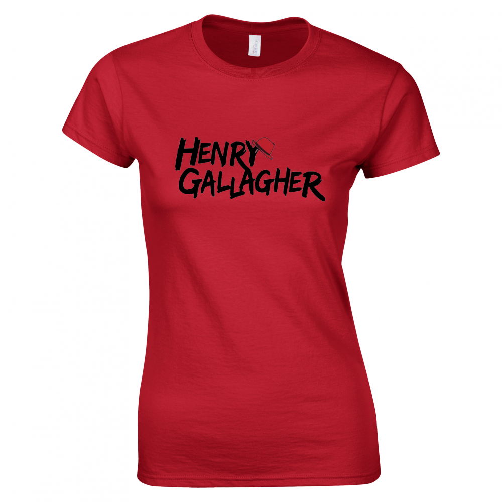 Buy Online Henry Gallagher - Ladies Black Text Red Logo T-Shirt