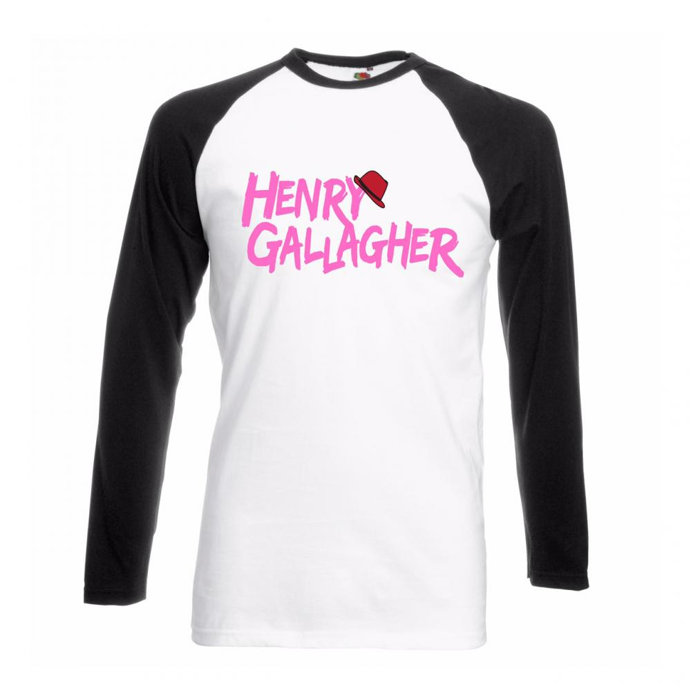 Buy Online Henry Gallagher - White/Black Pink Text Raglan