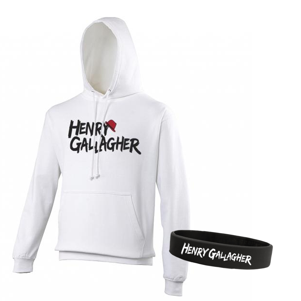 Buy Online Henry Gallagher - Henry Gallagher Logo White Hoodie + Wristband