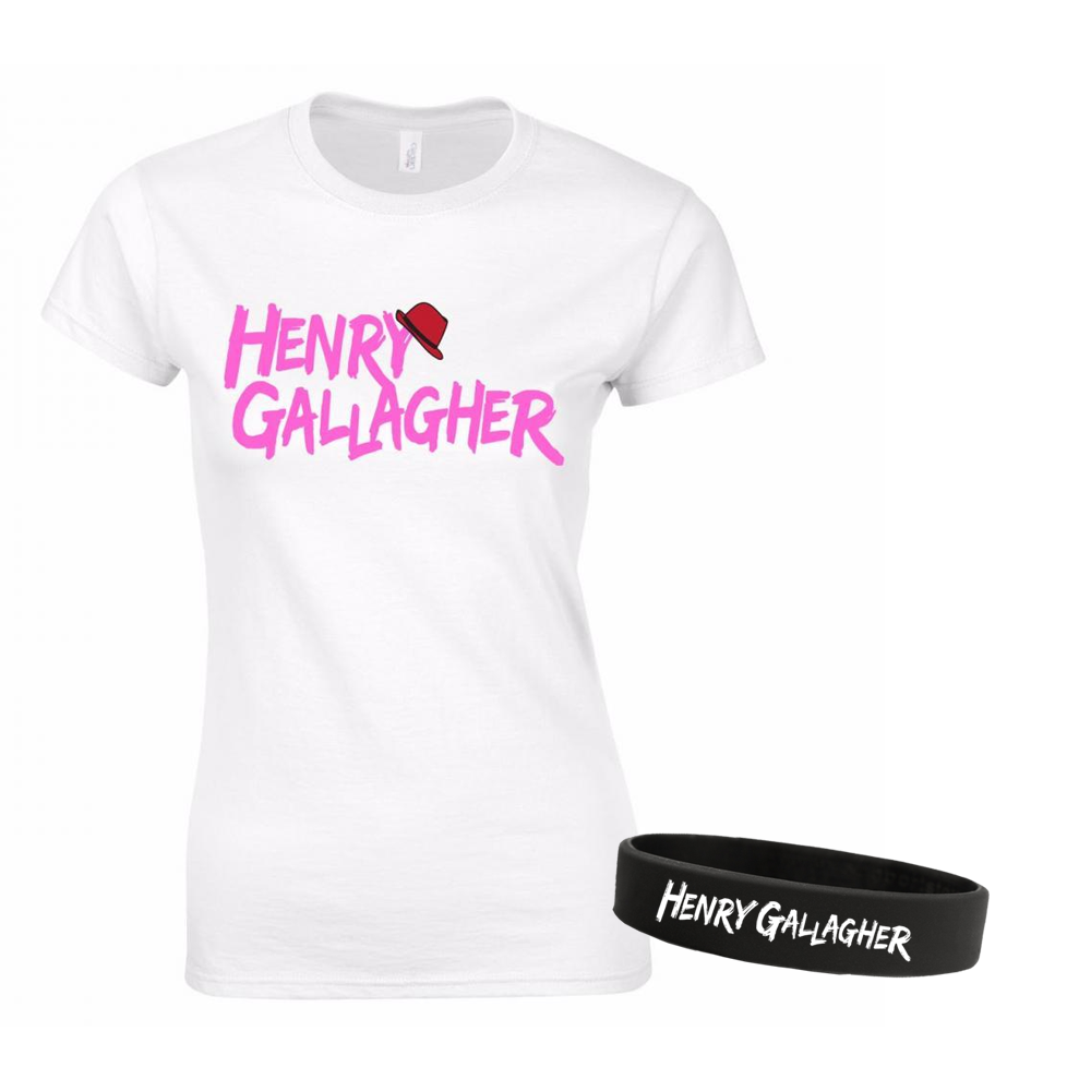 Buy Online Henry Gallagher - Ladies Pink Text Logo White T-Shirt + Wristband