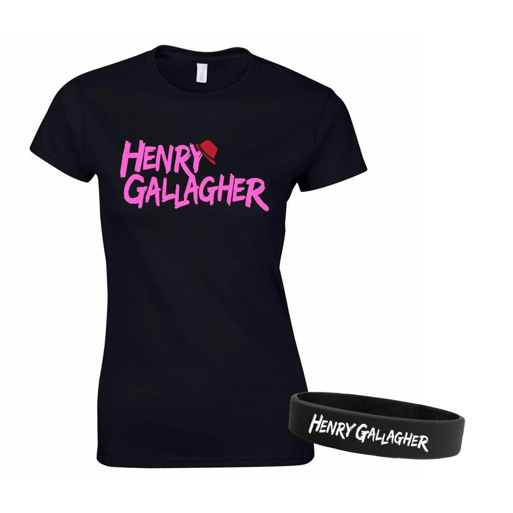 Buy Online Henry Gallagher - Ladies Pink Text Logo Black T-Shirt + Wristband