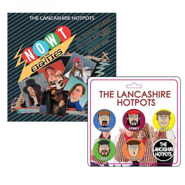 Buy Online The Lancashire Hotpots - Now't Like The 80s CD & Badge Set Bundle