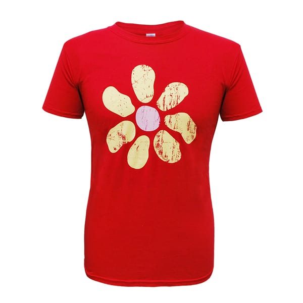 Buy Online James - Mens Large Flower Distressed Tour Cherry Red T-Shirt