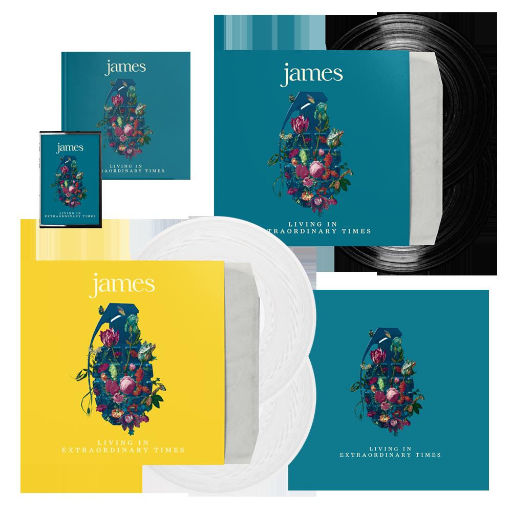 Buy Online James - Living In Extraordinary Times Deluxe CD + Vinyl + White Vinyl + Cassette + 12 x 12 Print