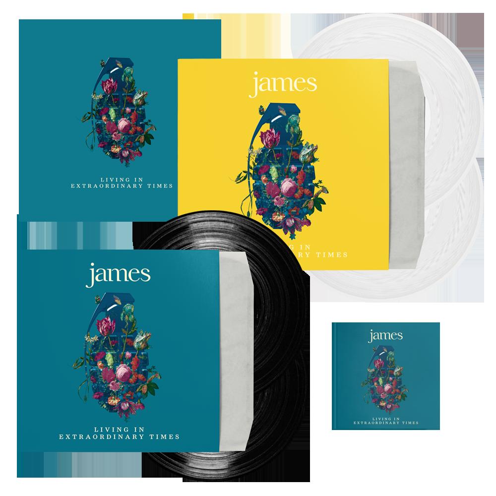 Buy Online James - Living In Extraordinary Times Deluxe CD + Vinyl + White Vinyl + 12 x 12 Print