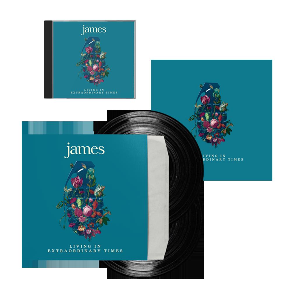 Buy Online James - Living In Extraordinary Times Standard CD + Vinyl + Signed 12 x 12 Print