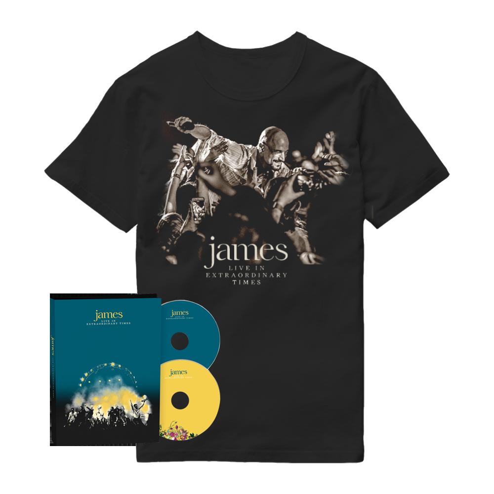Buy Online James - LIVE In Extraordinary Times Deluxe 2CD Album + Black T-Shirt