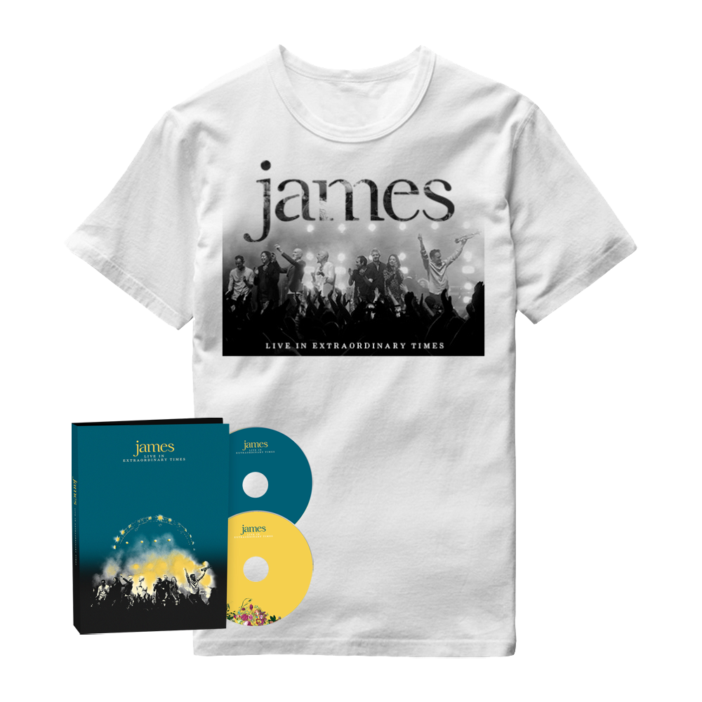 Buy Online James - LIVE In Extraordinary Times Deluxe 2CD Album + White T-Shirt