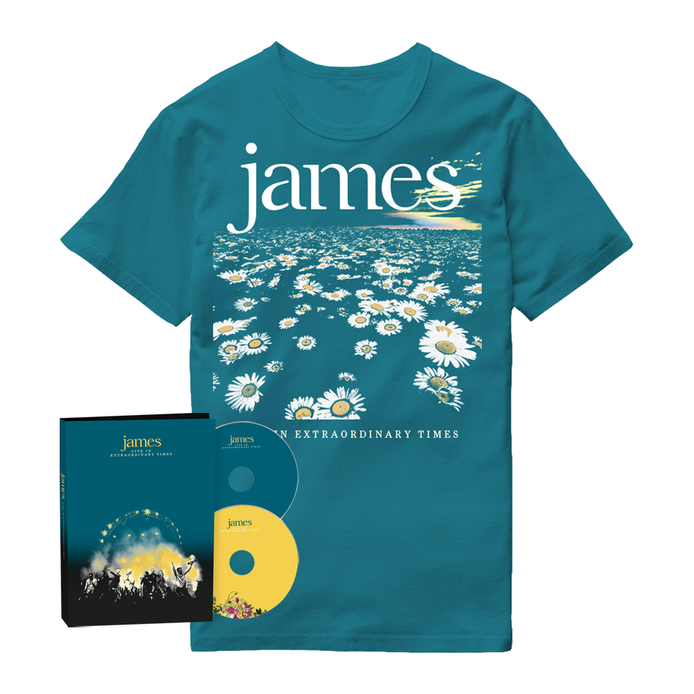 Buy Online James - LIVE In Extraordinary Times Deluxe 2CD Album + Blue Daisy T-Shirt
