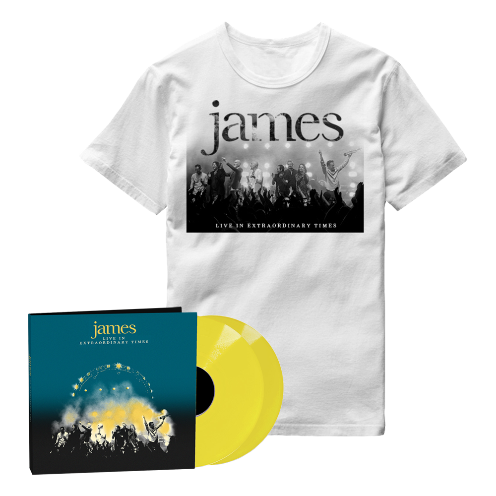Buy Online James - LIVE In Extraordinary Times Yellow Double Vinyl + White T-Shirt
