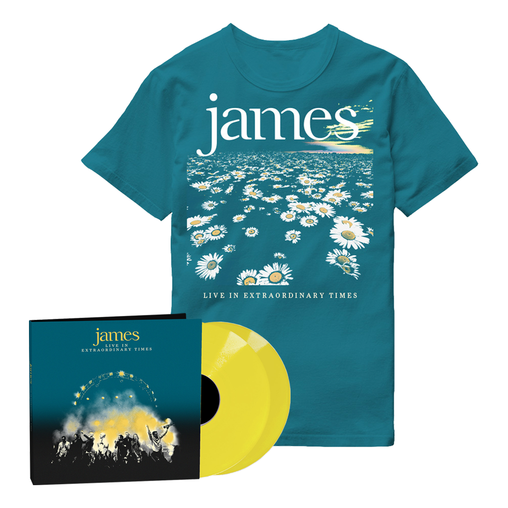 Buy Online James - LIVE In Extraordinary Times Yellow Double Vinyl + Blue Daisy T-Shirt