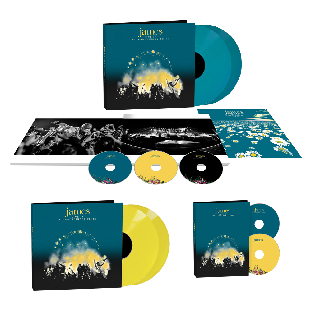 Buy Online James - LIVE In Extraordinary Times Photobook (Ltd Edition, w/ Signed 12 x 12 Print) + Deluxe 2CD + Yellow Double Vinyl
