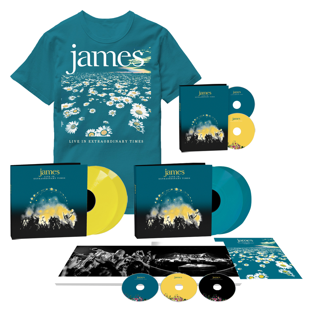 Buy Online James - LIVE In Extraordinary Times Photobook (Ltd Edition, w/ Signed 12 x 12 Print) + Deluxe 2CD + Yellow Double Vinyl + Blue Daisy T-Shirt