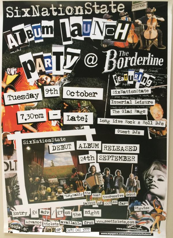 Buy Online SixNationState - 'Borderline Album Launch' 42 x 30cm Poster