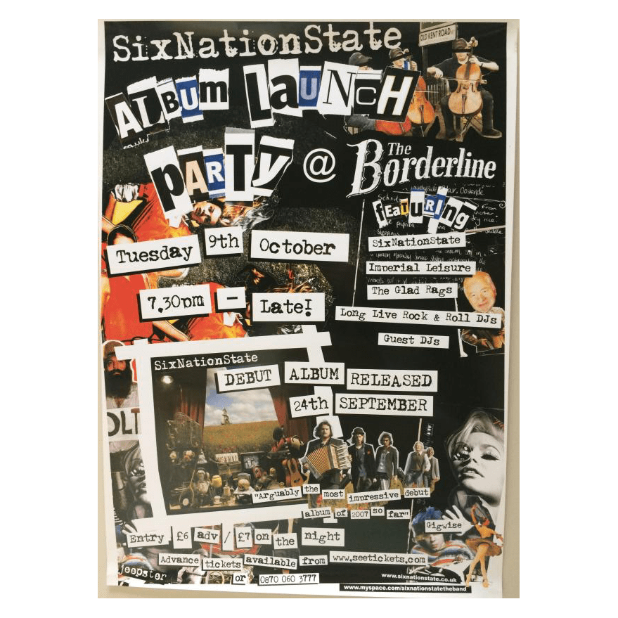 SixNationState - Borderline Album Launch 42 x 30cm Poster