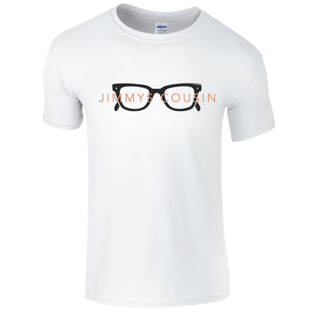 Buy Online Jimmys Cousin - White Glasses T-Shirt