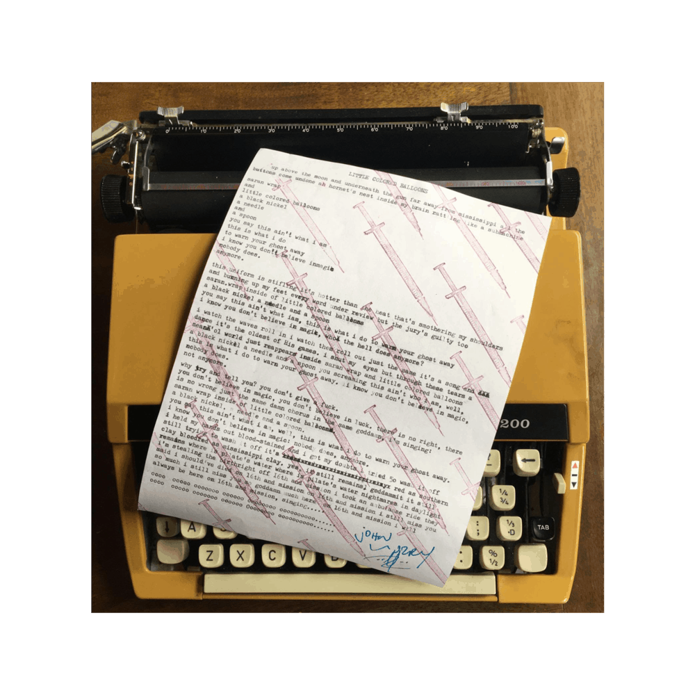 Buy Online John Murry - A4 Typed Lyric Sheet (Signed + Numbered)