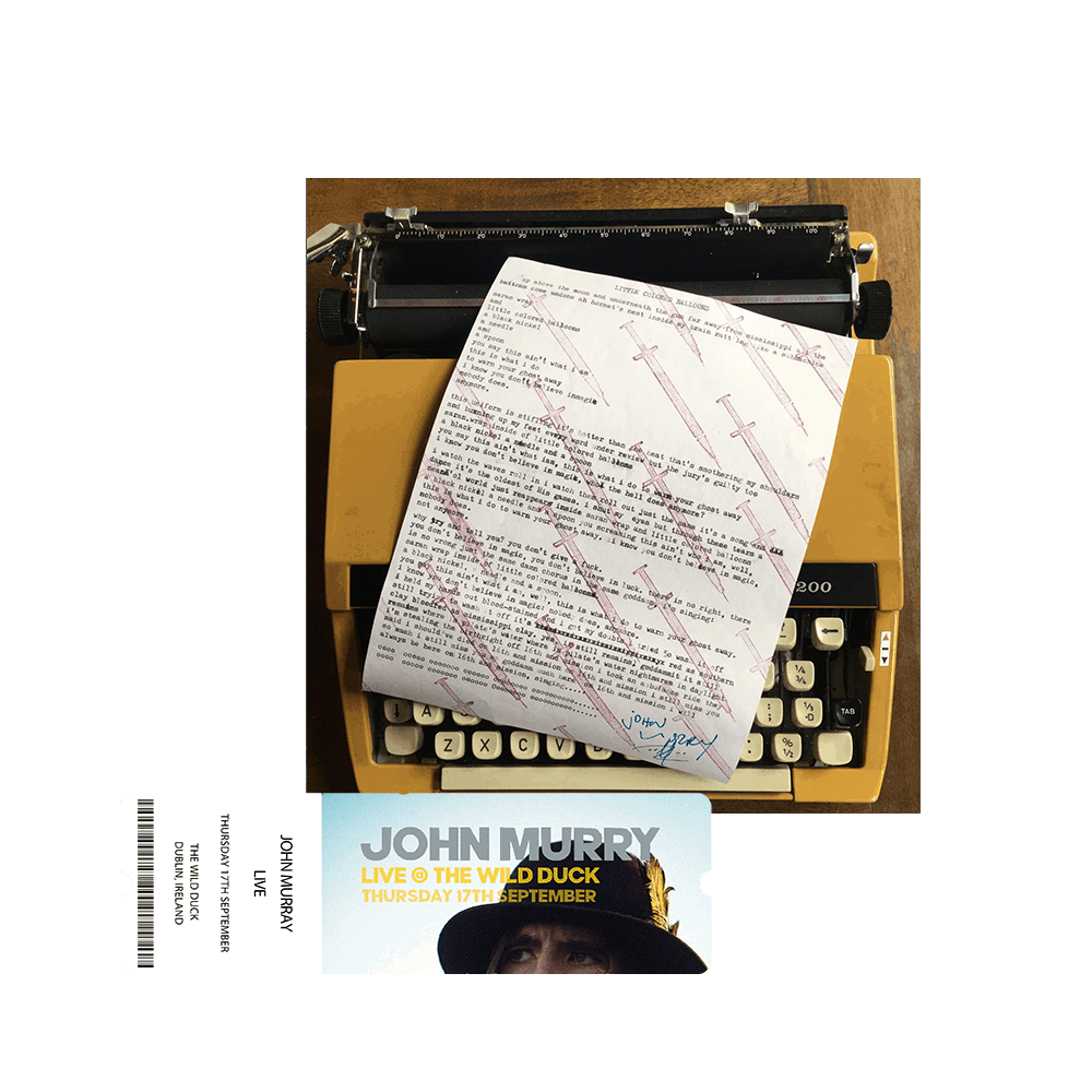 Buy Online John Murry - Signed Lyric Sheet and Ticket Bundle