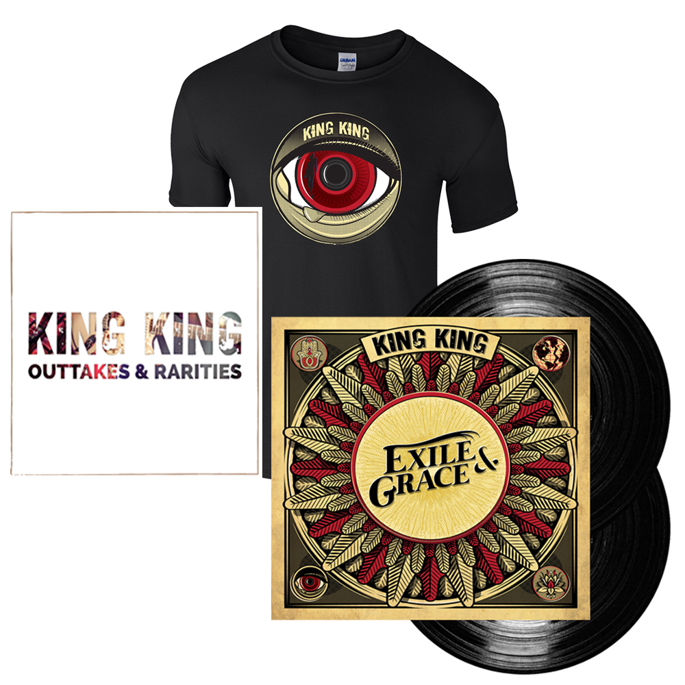 Buy Online King King - Exile & Grace - 180grm Black Double Vinyl (Signed) + Exclusive T-Shirt (w/ Outtakes & Rarities CD EP)