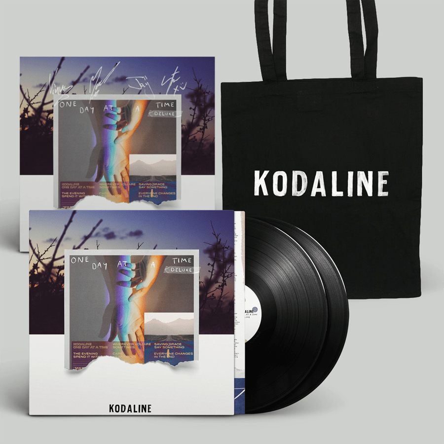 Buy Online Kodaline - 'One Day At A Time' Black Double Vinyl + Distressed Logo Tote Bag (Inc. Signed Art Print)