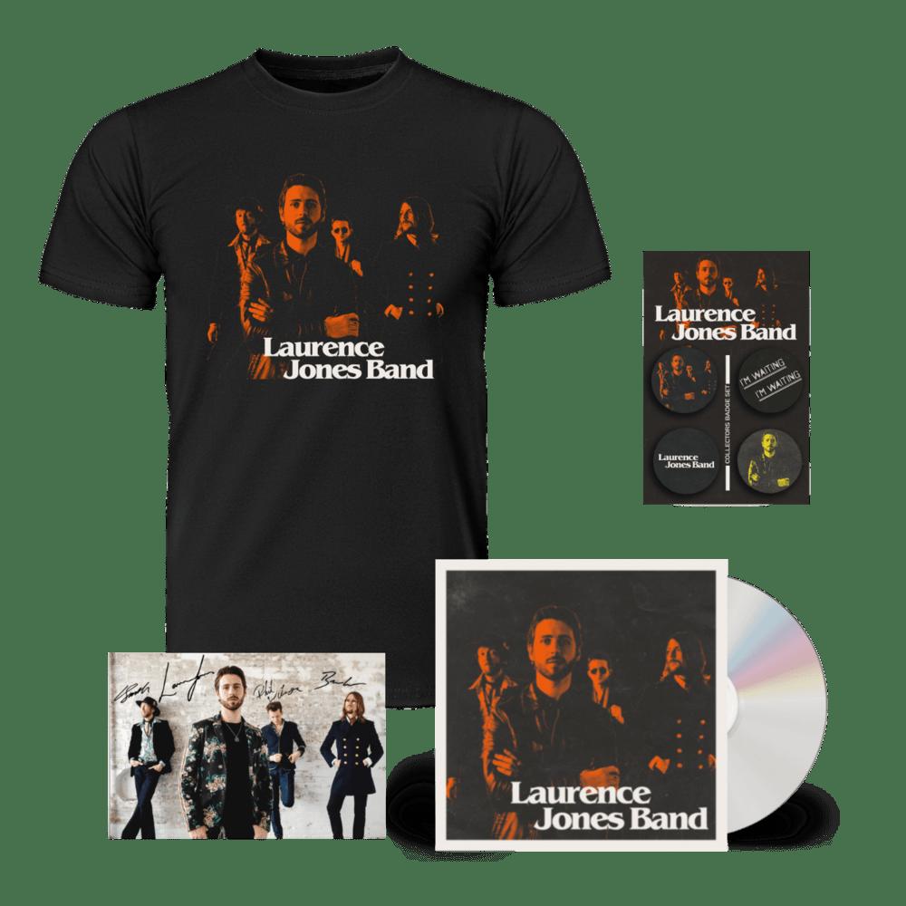 Buy Online Laurence Jones - Laurence Jones Band CD (Signed) (Inc Signed Photo) + T-Shirt (Inc Badges)