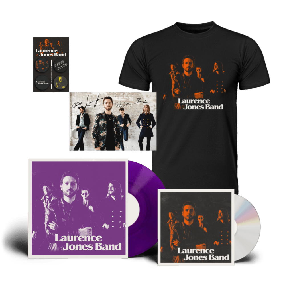 Buy Online Laurence Jones - Laurence Jones Band CD (Signed) (Inc Signed Photo) + Coloured Vinyl (Signed) + T-Shirt