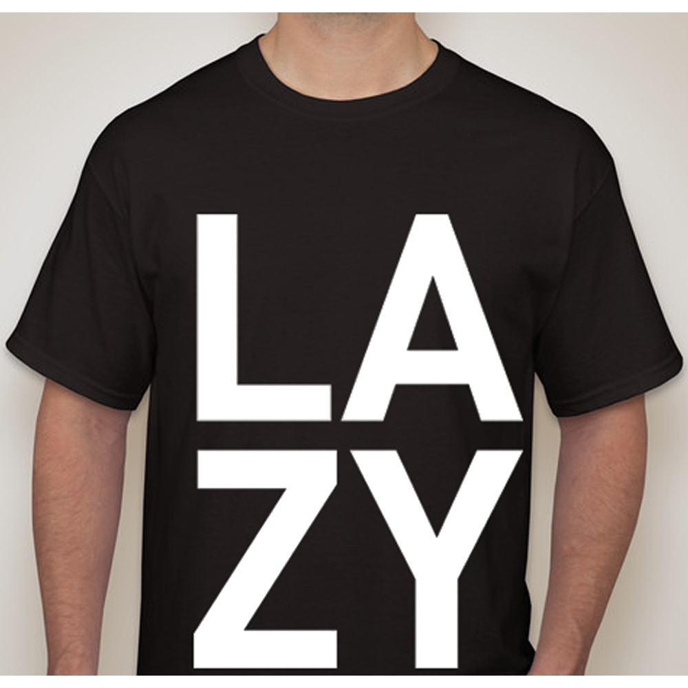 Buy Online Lazy Habits - Black L A Z Y T-Shirt