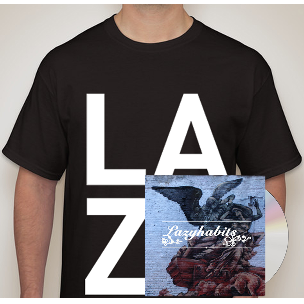 Buy Online Lazy Habits - Lazy Habits CD - Black L A Z Y T-Shirt
