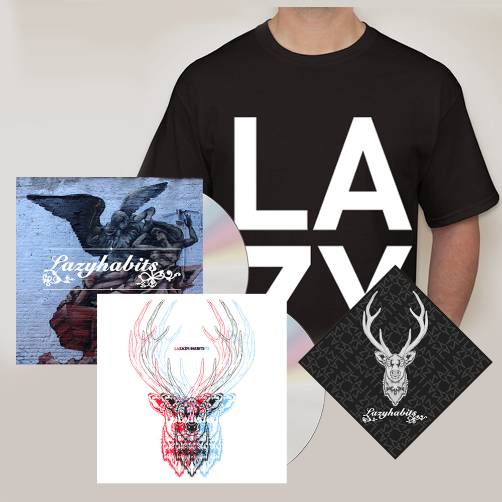 Buy Online Lazy Habits - The Atrocity Exhibition CD - Lazy Habits CD - Black L A Z Y T-Shirt - Bandana