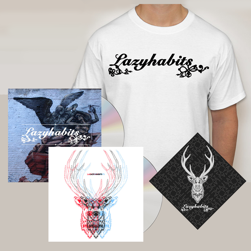 Buy Online Lazy Habits - The Atrocity Exhibition CD - Lazy Habits CD - Lazy Habits White T-Shirt  - Bandana