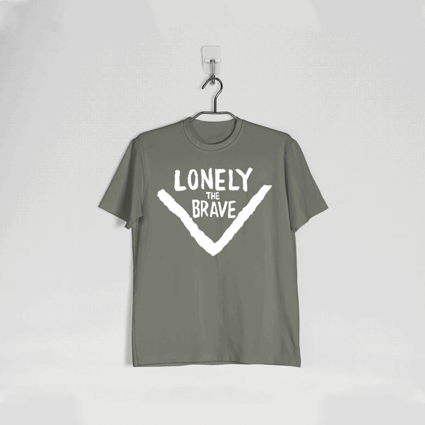 Lonely The Brave Military Green Logo T Shirt