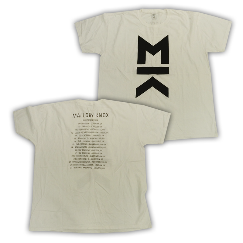 Buy Online Mallory Knox - White MK Tour T-Shirt