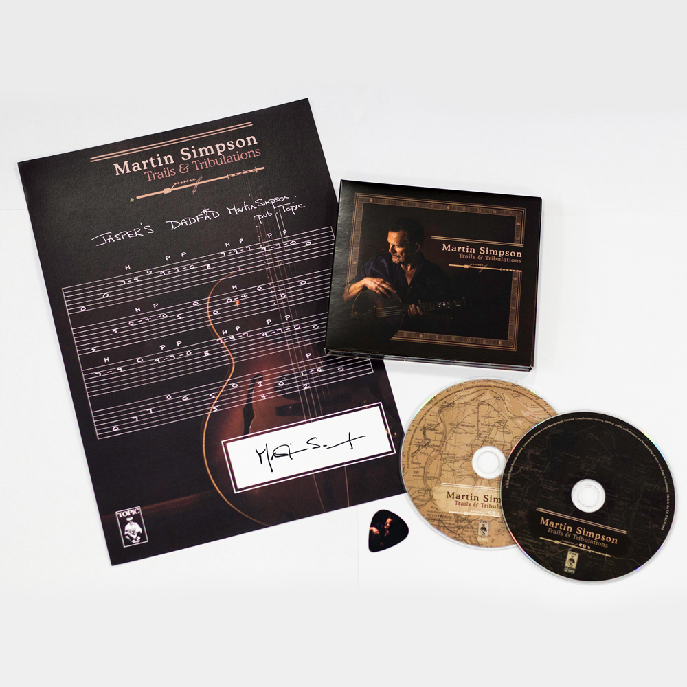 Buy Online Martin Simpson - Trails & Tribulations Deluxe CD (19 Tracks) + Signed Guitar Tab + Album Art Guitar Pick