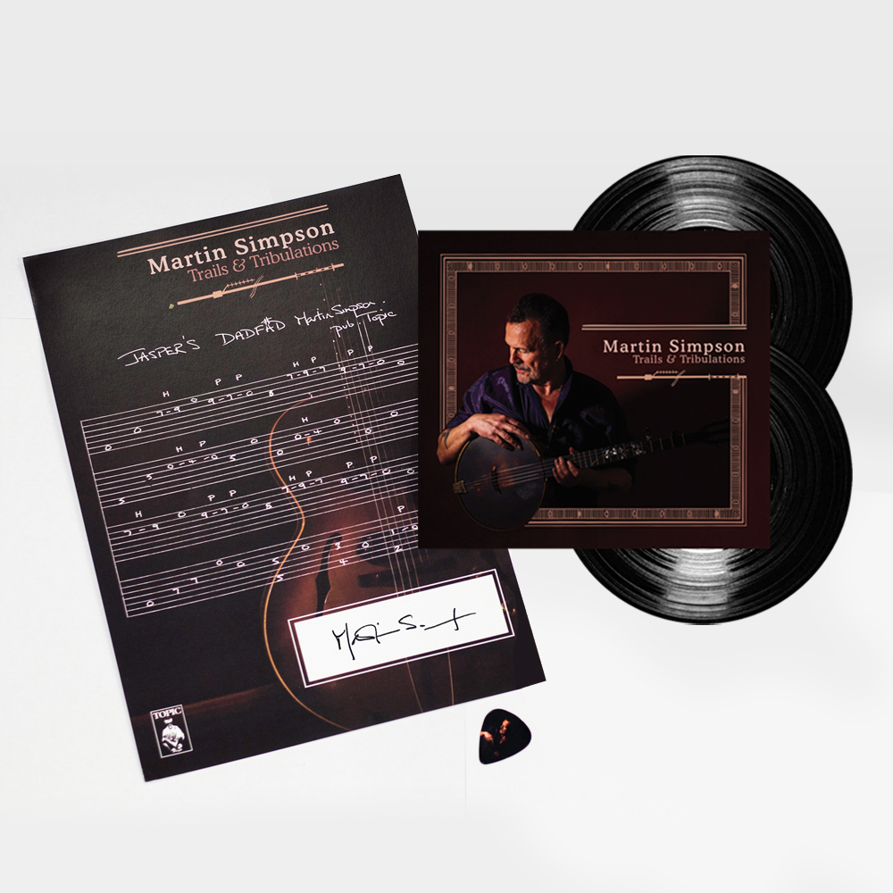 Buy Online Martin Simpson - Trails & Tribulations Double 180g Vinyl + Signed Guitar Tab + Album Art Guitar Pick