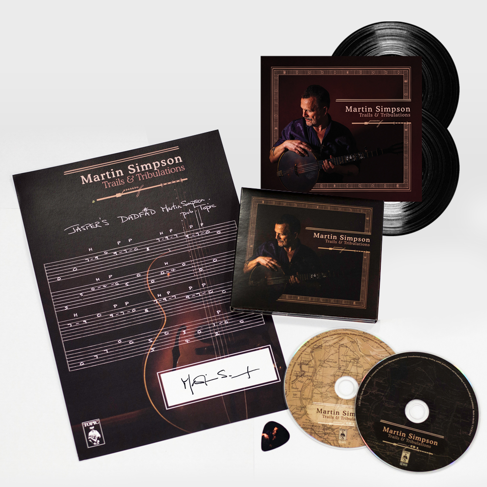 Buy Online Martin Simpson - Trails & Tribulations Deluxe CD + Double 180g Vinyl + Signed Guitar Tab + Album Art Guitar Pick