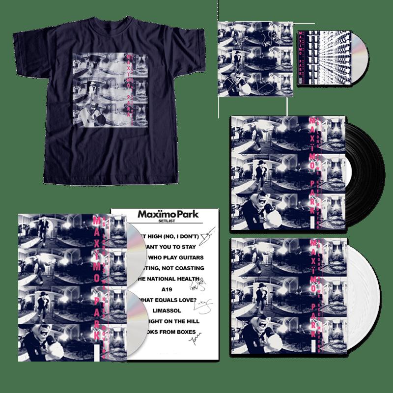 Buy Online Maximo Park - As Long As We Keep Moving - Deluxe CD/DVD Bookpack, White Vinyl, Standard Vinyl, T-Shirt & Bonus CD Bundle (Signed)